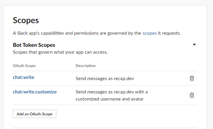 Adding OAuth Scopes